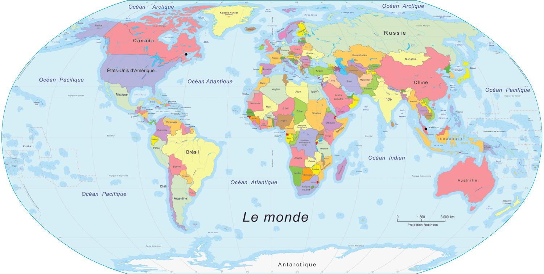 Carte Du Monde Pour Enfant, Carte Du Monde serapportantà Planisphère Enfant