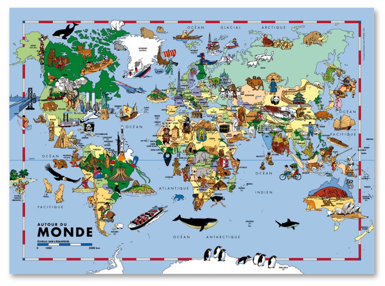 Carte Du Monde Pour Enfants - Carte Murale De Grand Format encequiconcerne Jeux De Carte Geographique Du Monde