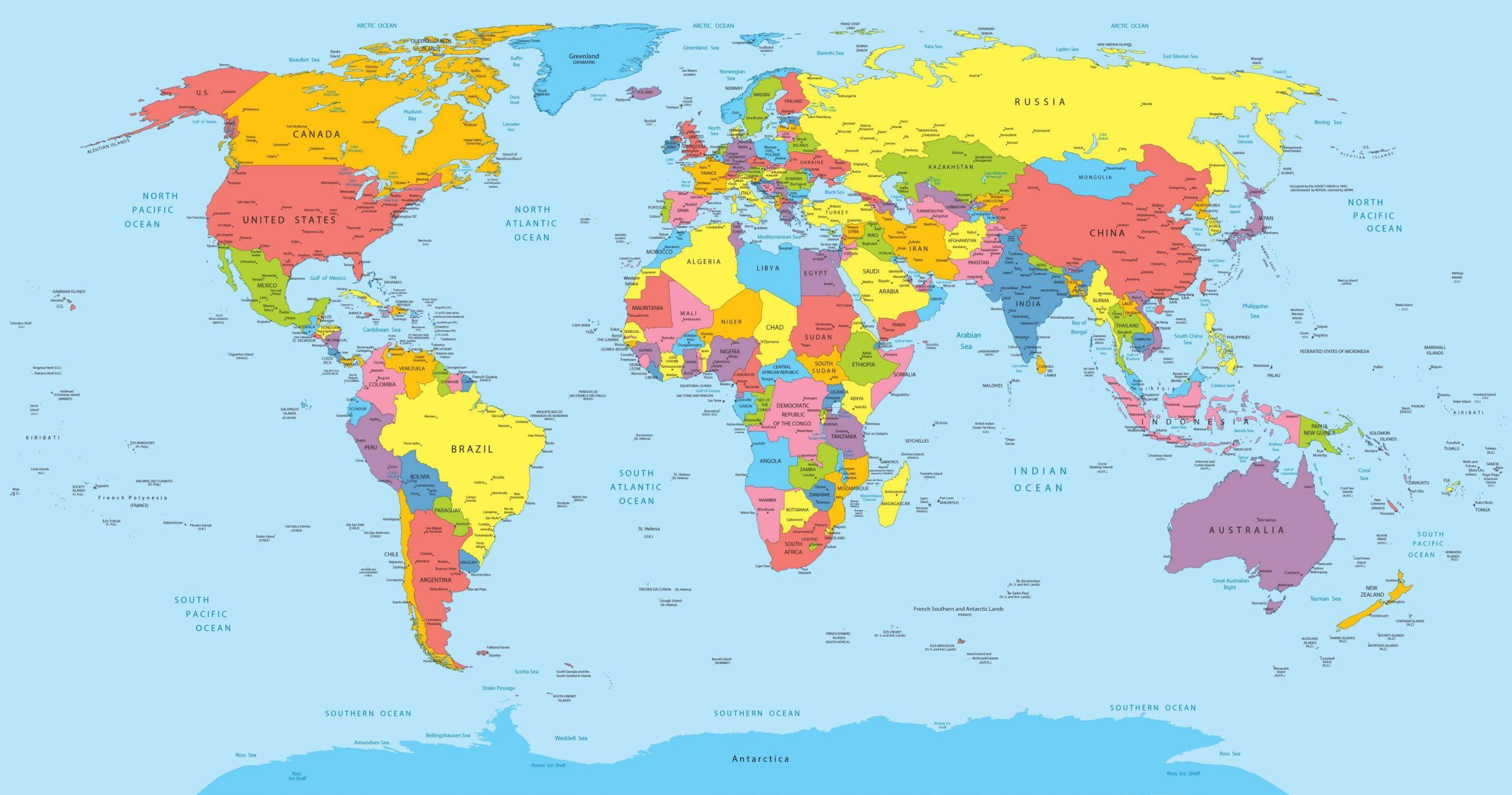 Carte Du Monde - Présentation Du Monde Sous Forme De Cartograhie dedans Carte Du Monde Avec Capitales Et Pays