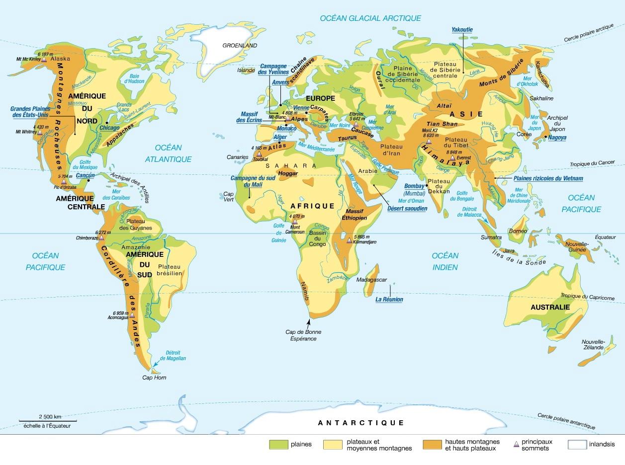 Carte Du Monde : Reliefs Et Fleuves - Educpret destiné Carte Des Fleuves