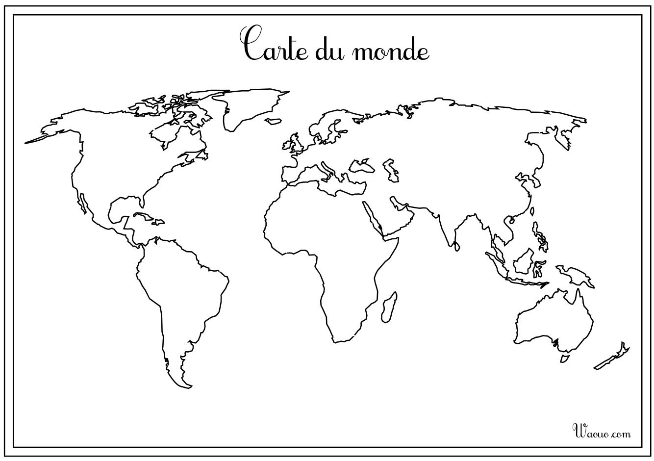 Carte Du Monde Vierge À Imprimer serapportantà Carte Du Monde Avec Continent