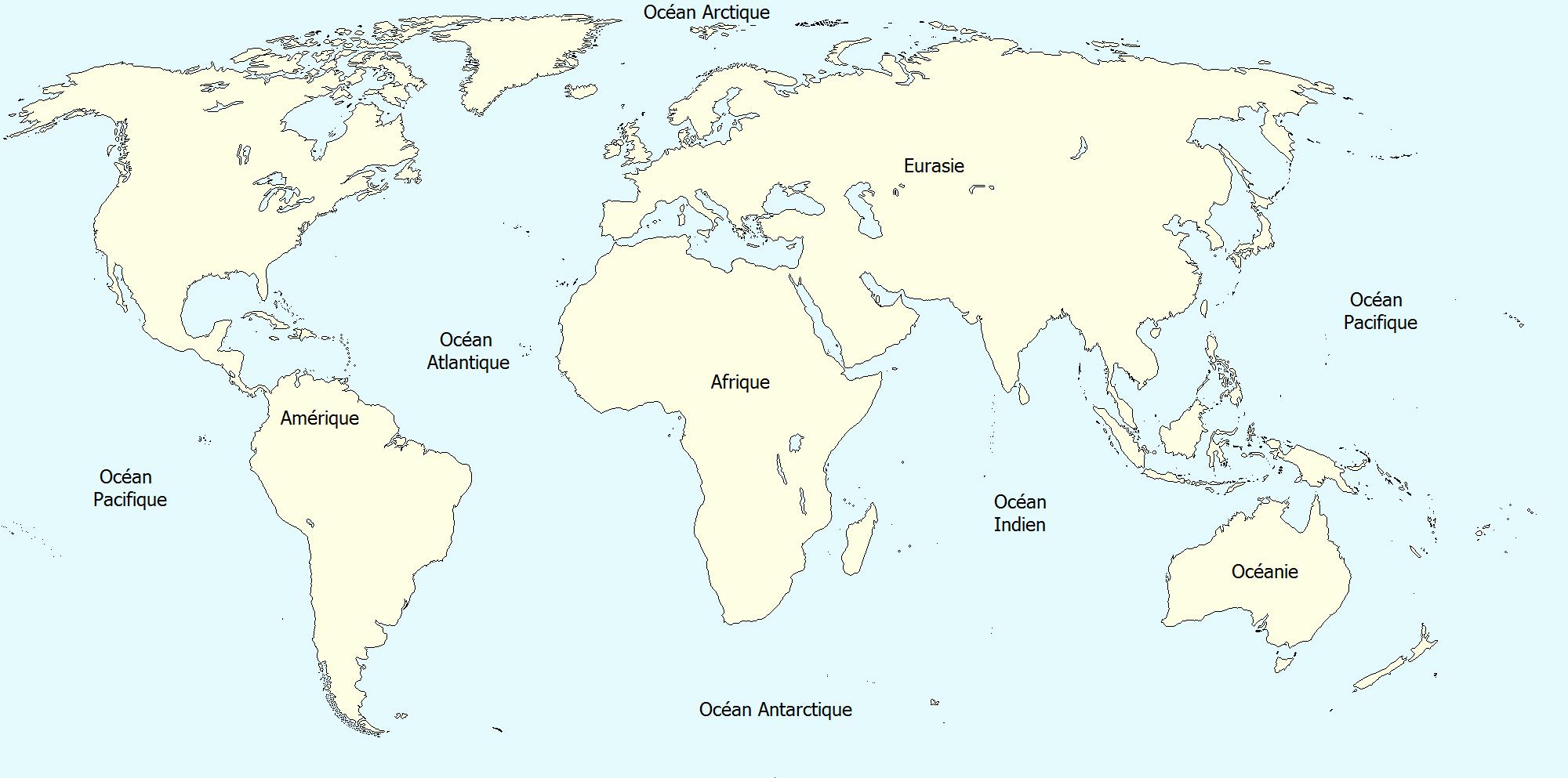 Carte Du Monde Vierge À Imprimer tout Carte Du Monde Avec Continent