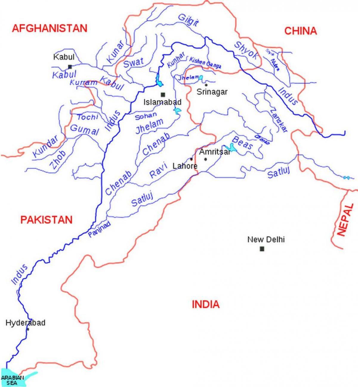 Carte Du Pakistan Rivières - Pakistan Carte Des Fleuves destiné Carte Des Fleuves