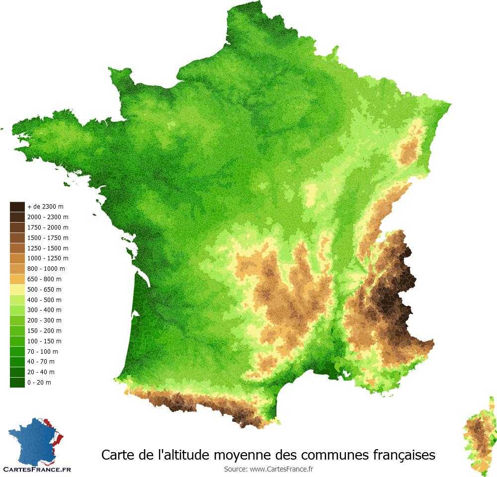 Carte Du Relief Des Communes De France concernant Carte Géographique De France
