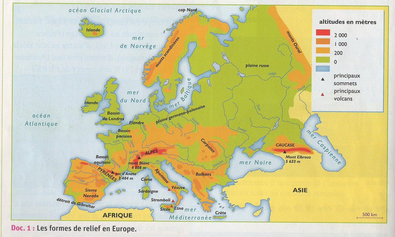 Carte Du Relief Européen | My Blog intérieur Carte Europe Vierge Cm1