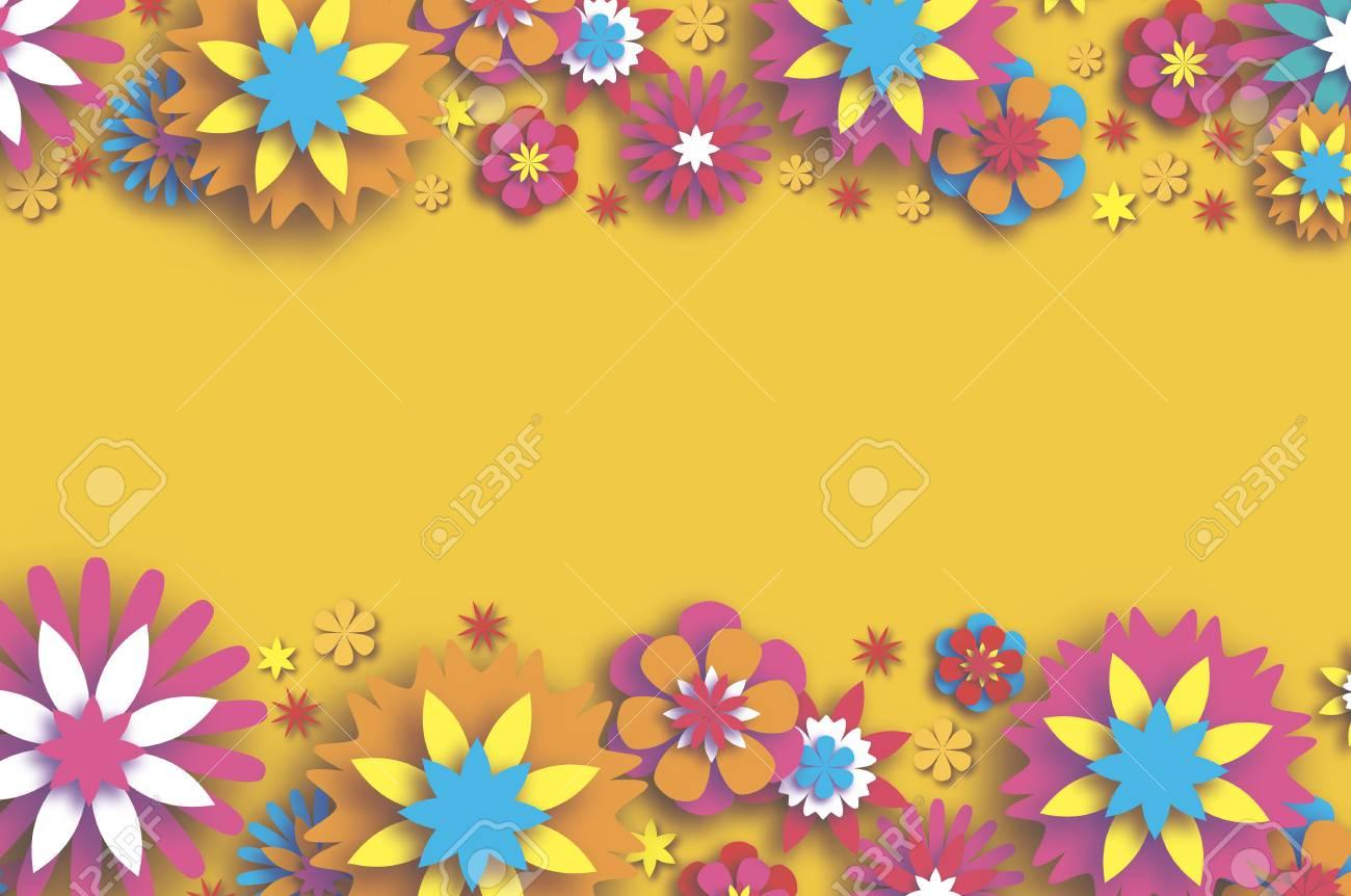 Carte Florale Colorée. Papier Découpé Fleurs Composition. Origami Daisy  Rose Fleur. Texte. Fleur De Pivoine De Printemps. Vacances Saisonnières Sur destiné Fleurs À Découper