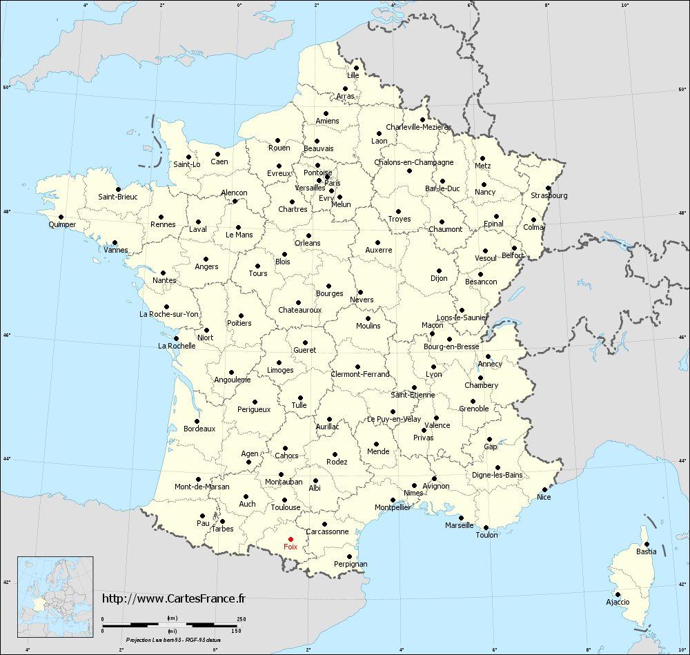 Carte Foix : Cartes De Foix 09000 tout Département 09 Carte