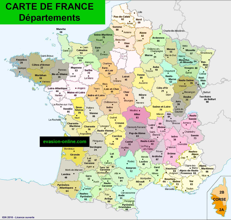 Carte France Départements » Vacances - Arts- Guides Voyages pour La Carte France Departement