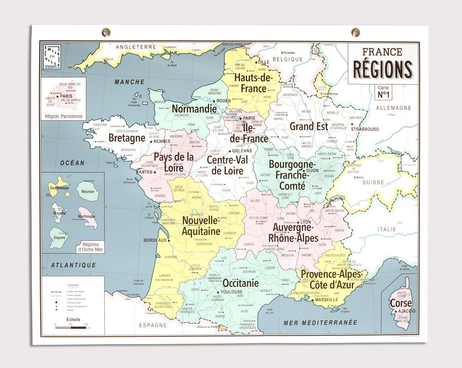 Carte France Régions Émile En Ville - Carte D'école Style avec Acheter Carte De France