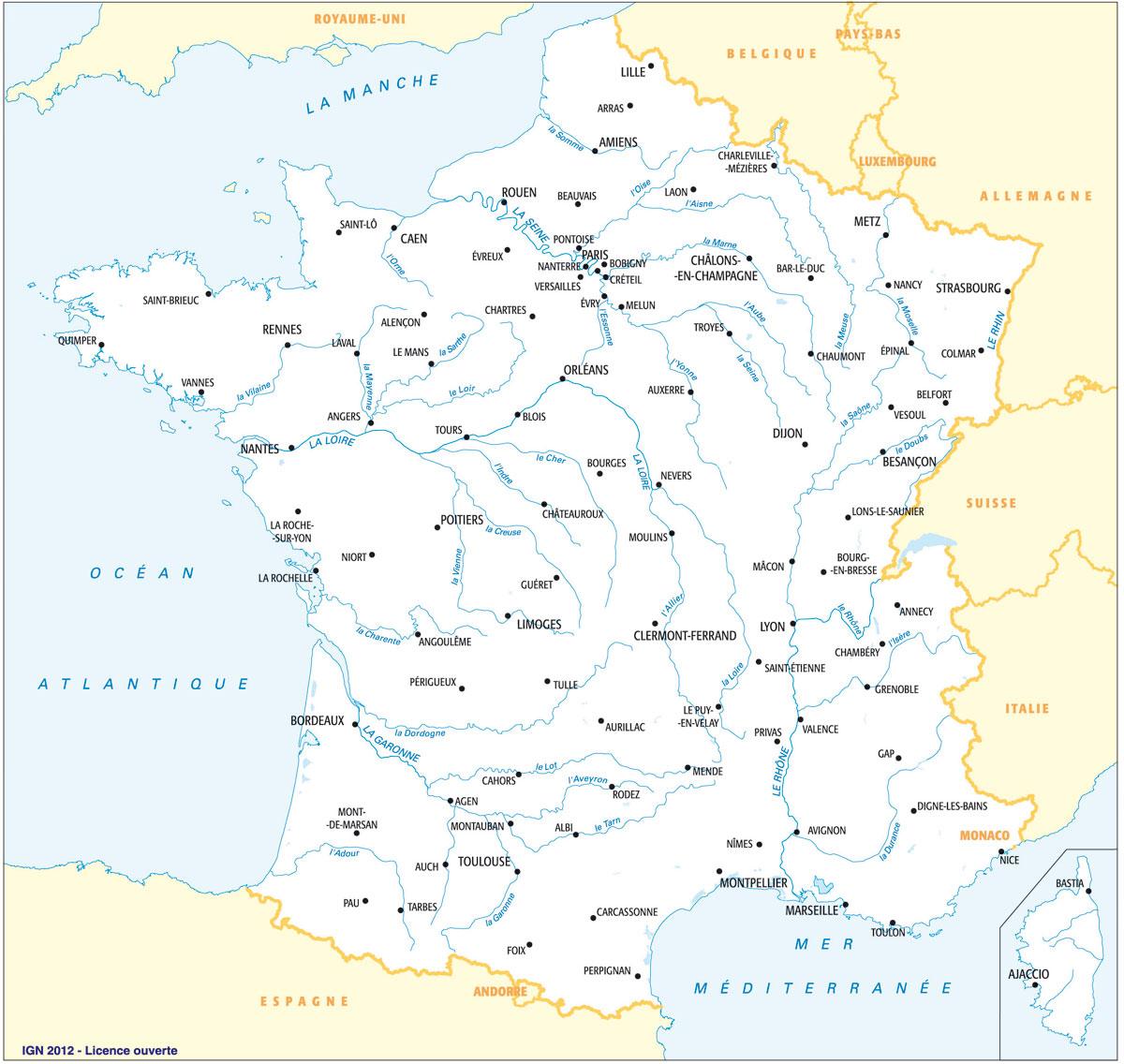 Carte France Villes : Carte Des Villes De France intérieur Carte De La France Avec Les Grandes Villes