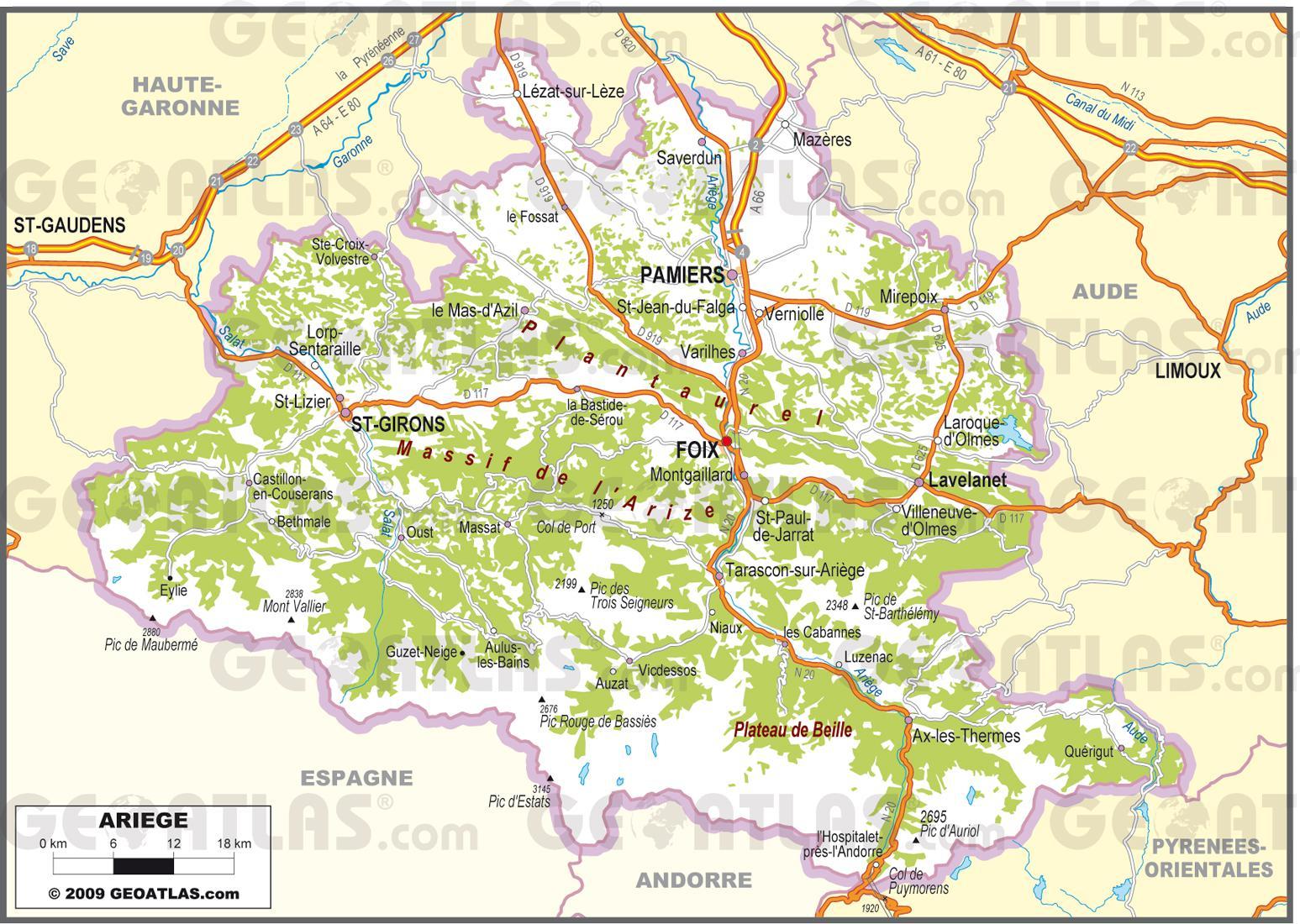 Carte Géographique De L Ariège | My Blog tout Département 09 Carte