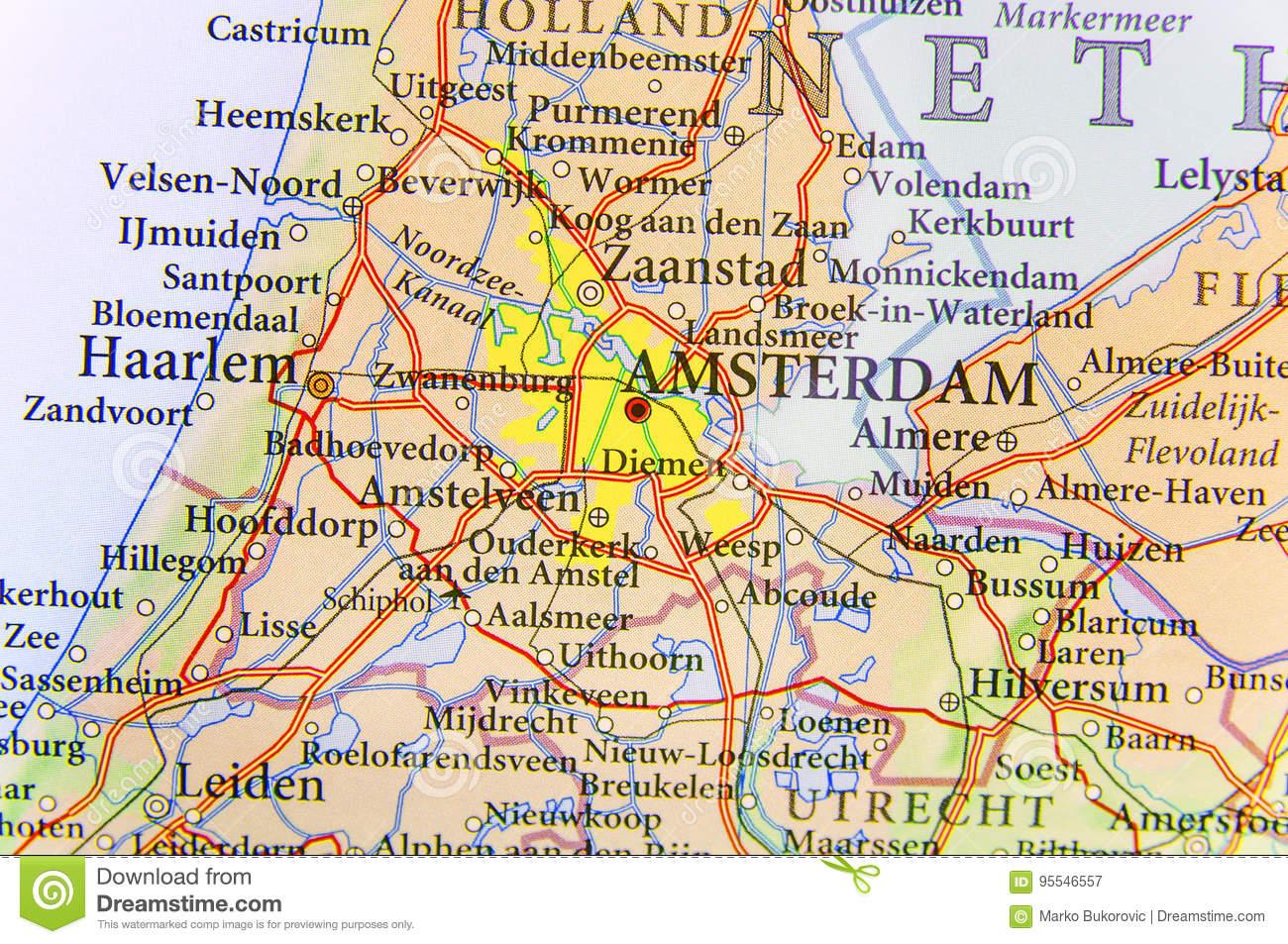 Carte Géographique De Pays Européen Pays-Bas Avec La destiné Pays D Europe Et Capitales