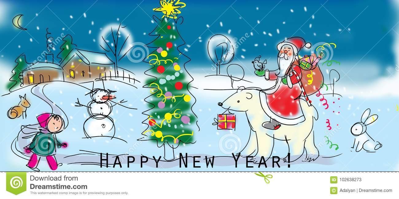 Carte Gratuite De Napovannaya Pendant Noël Et La Nouvelle tout Carte Nouvel An Gratuite