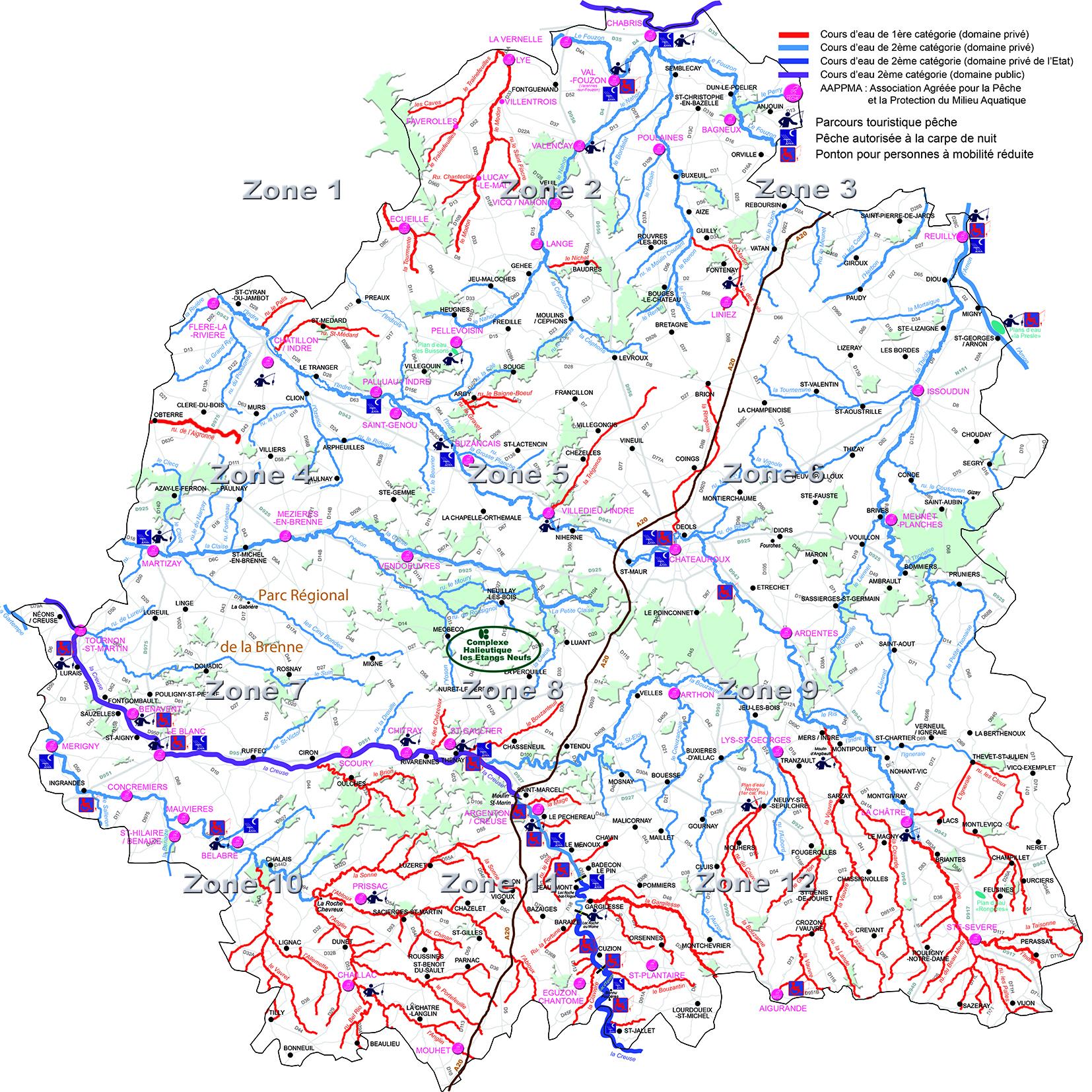 Carte Hydrographique - Fédération De Pêche De L'indre à Département 57 Carte