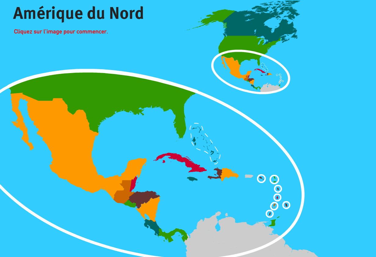 Carte Interactive D'amérique Du Nord Pays D'amérique Du Nord dedans Jeux De Geographie