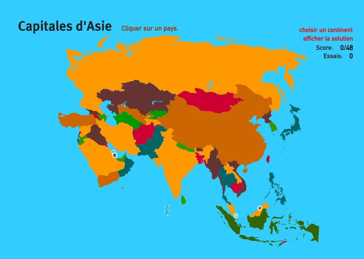 Carte Interactive D'asie Capitales D'asie. Jeux De concernant Jeu Des Capitales