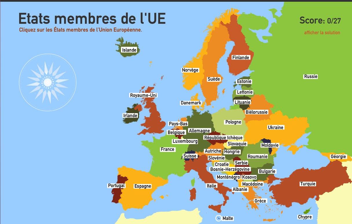 Carte Interactive D'europe Etats Membres De L'union à Carte Pays Membre De L Ue