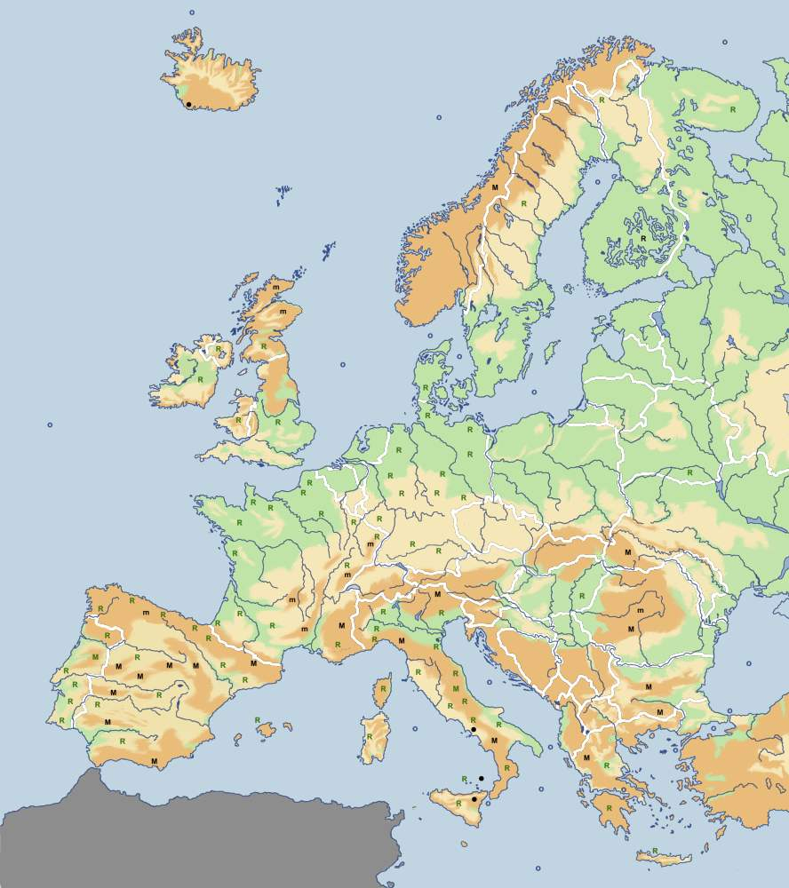 Carte Interactive Du Relief Et Des Régions De L'europe. pour Carte De L Europe En Relief