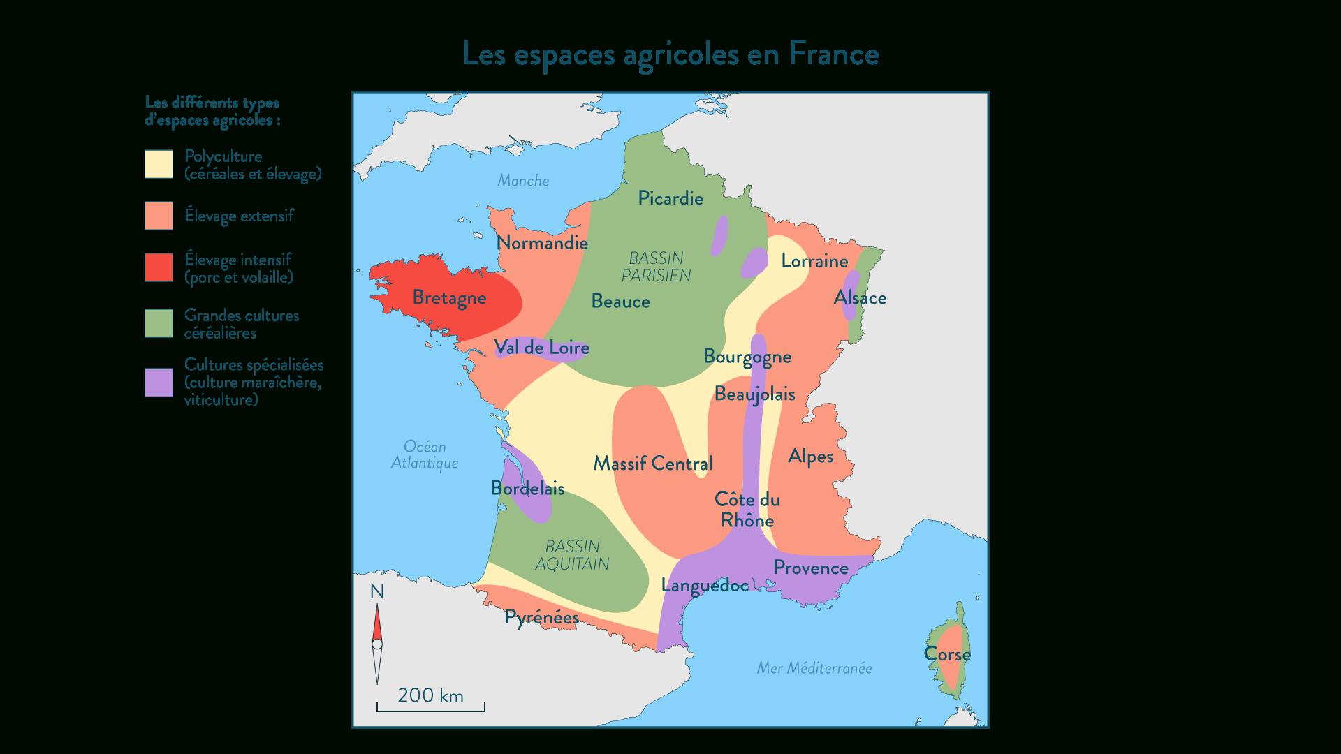Carte : Les Espaces Agricoles En France | Schoolmouv encequiconcerne Apprendre Carte De France