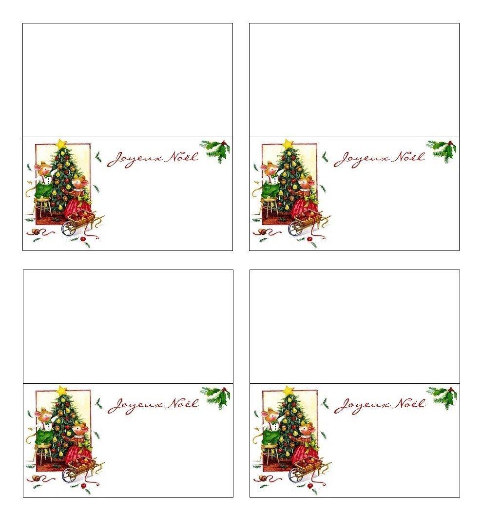 Carte Marque-Place De Table Réveillon De Noël À Imprimer destiné Décorations De Noel À Imprimer