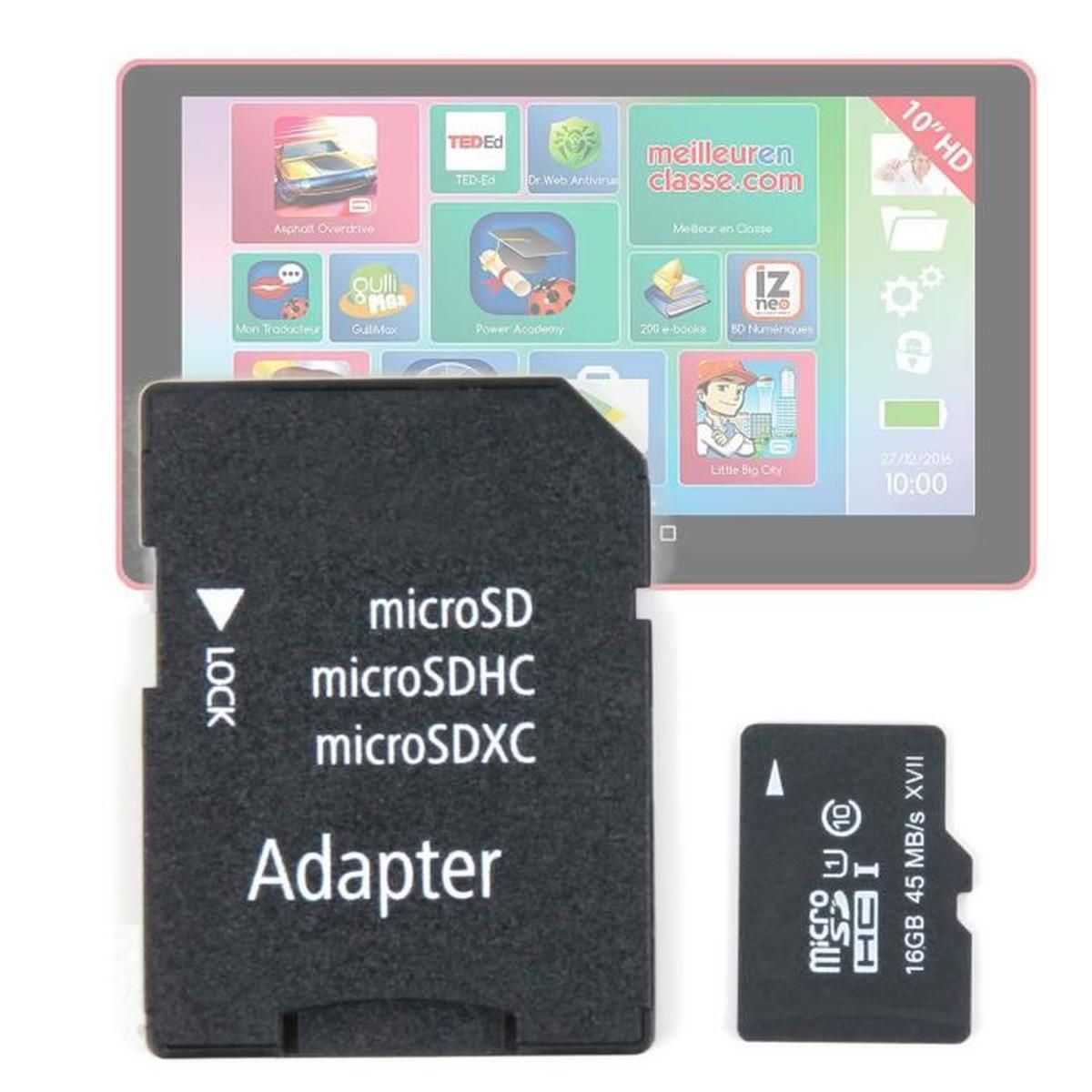 Carte Micro Sd 16Gb Duragadget Pour Lexibook Lexitab pour Carte Memoire Tablette