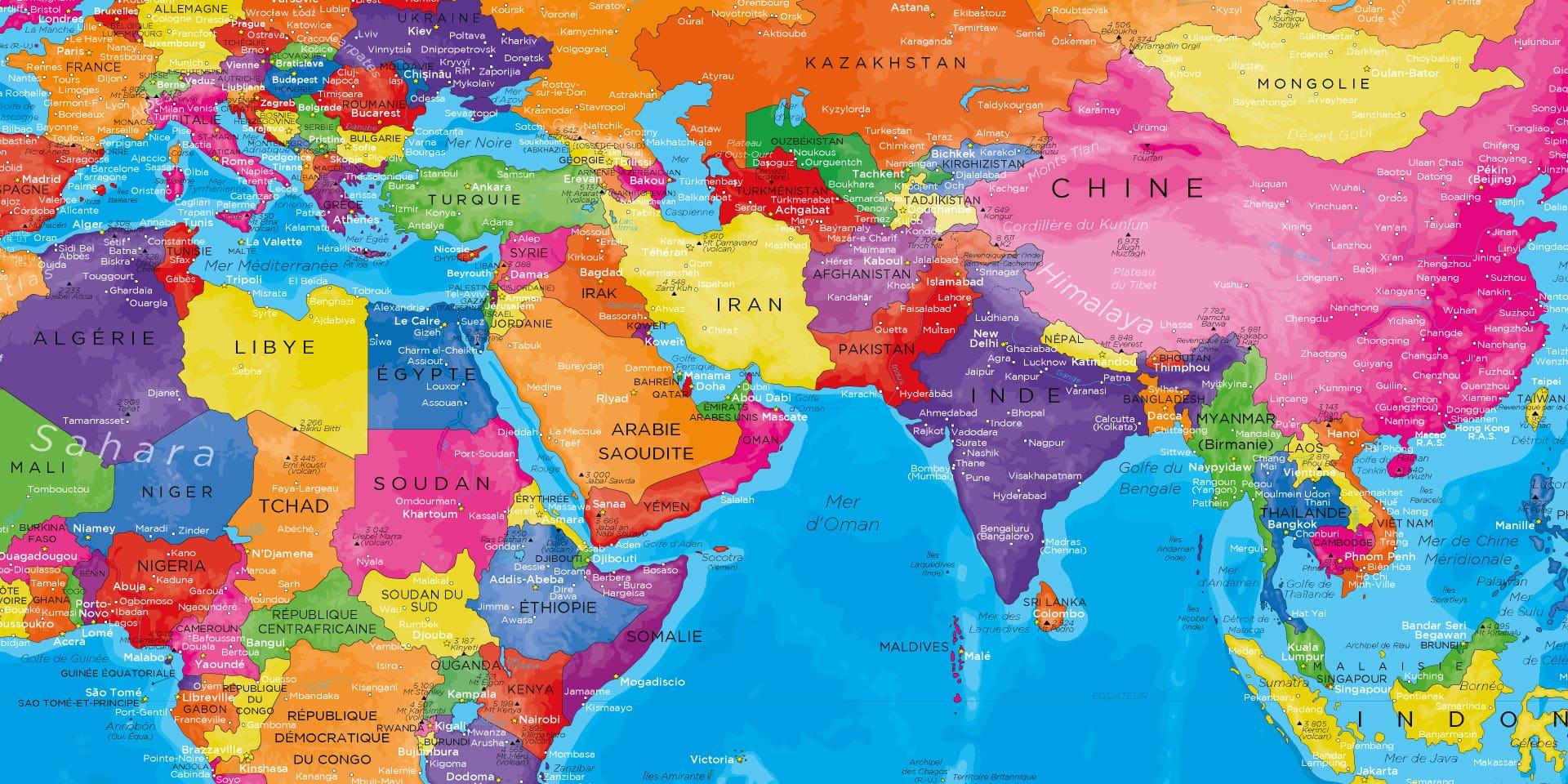 Carte Monde Tableau - Manarola tout Carte Du Monde Avec Capitales Et Pays