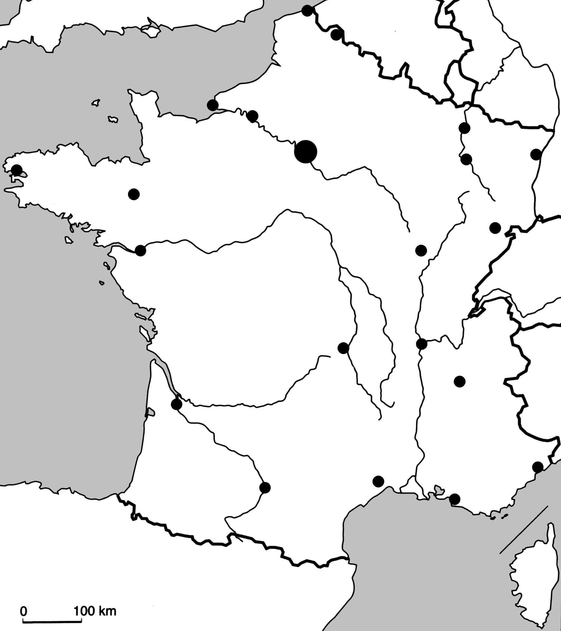 Carte Muette France Villes | My Blog dedans Carte France Principales Villes