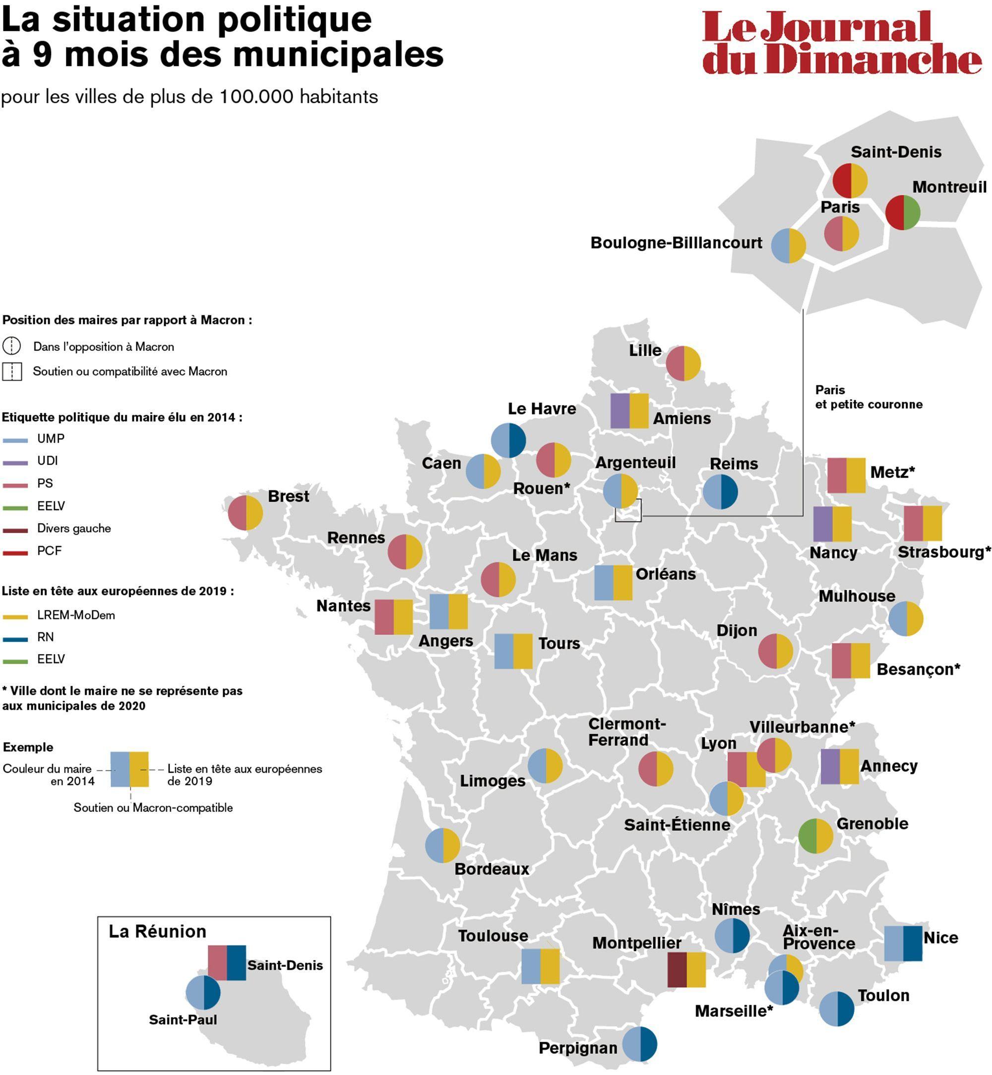 Carte. Municipales 2020 : Ces Villes Qui Suscitent L'intérêt encequiconcerne Carte De La France Avec Les Grandes Villes