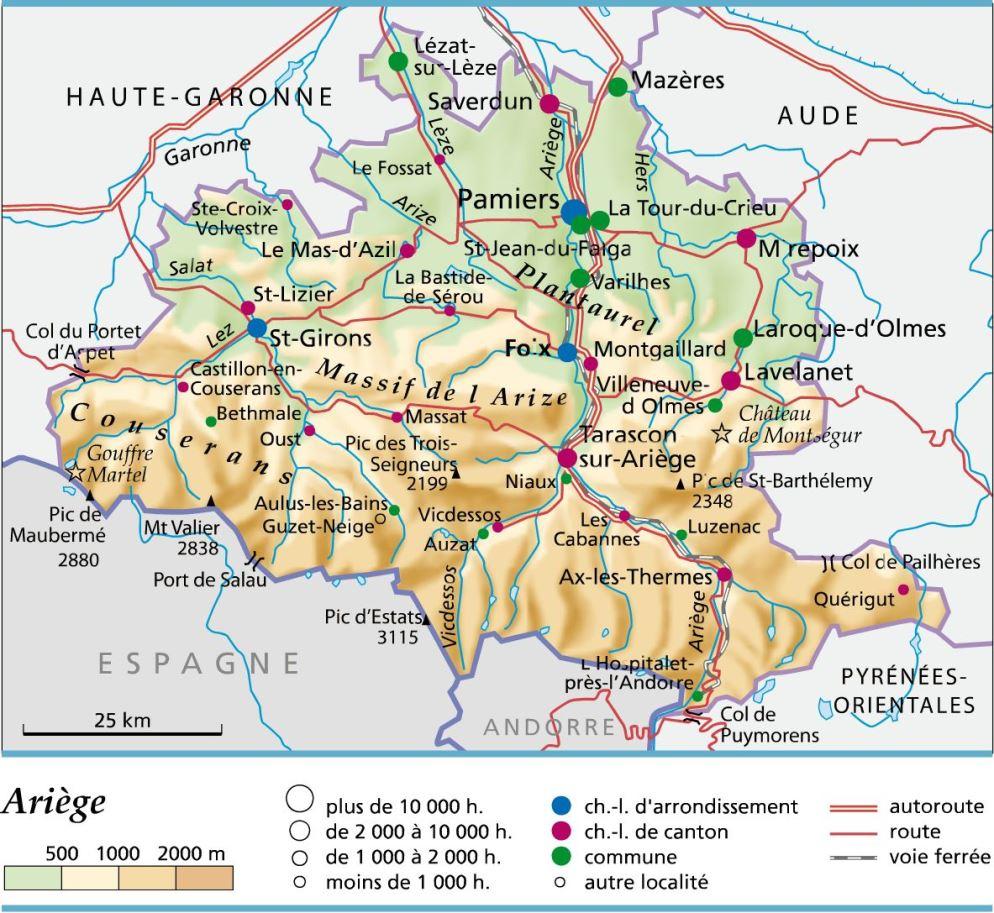 Carte, Plan Et Itinéraire Département Ariège 09 tout Département 09 Carte