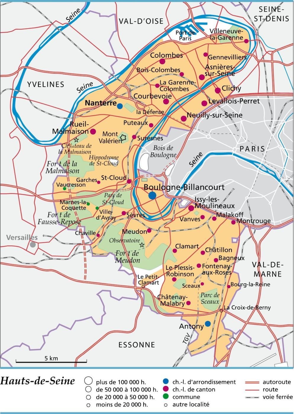 Carte, Plan Et Itinéraire Département Hauts-De-Seine 92 pour Carte Des Départements Et Villes