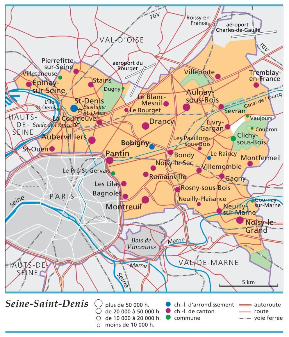 Carte, Plan Et Itinéraire Département Seine-Saint-Denis 93 concernant Carte Des Départements Et Villes