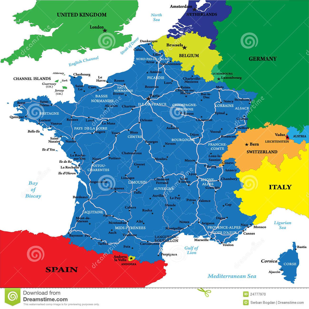 Carte Politique De La France Illustration De Vecteur pour Carte Des Villes De France Détaillée