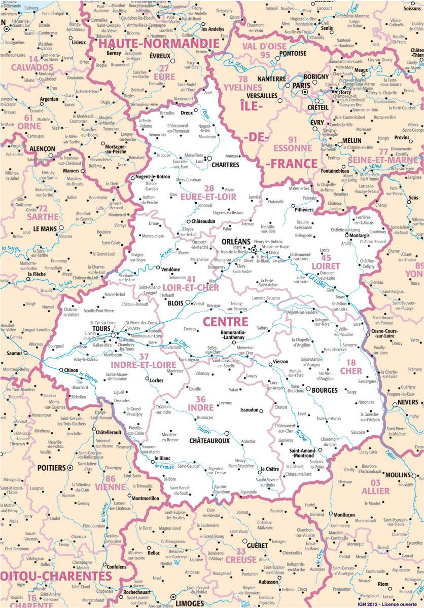 Carte Region Centre : Plans Et Cartes De La Région Centre intérieur Carte Du Sud Est De La France Détaillée