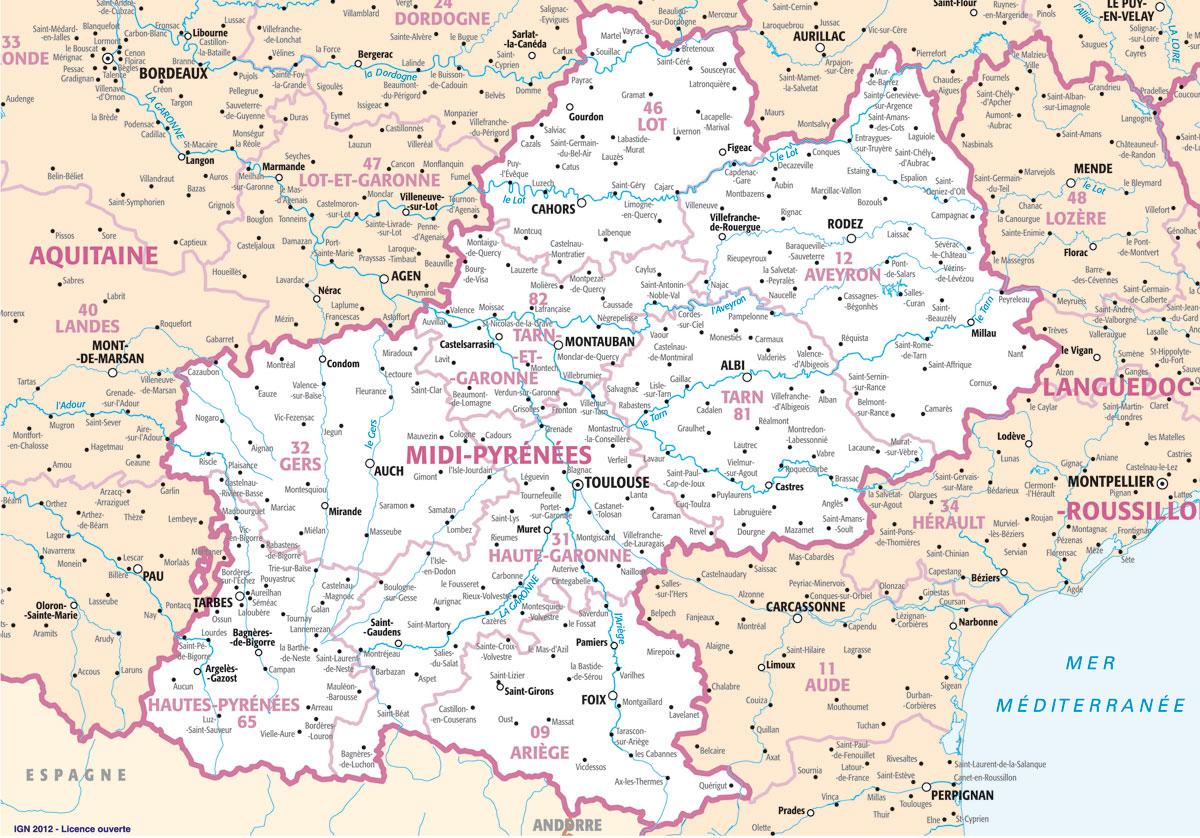 Carte Region Midi-Pyrénées : Plans Et Cartes De La Région serapportantà Département 09 Carte