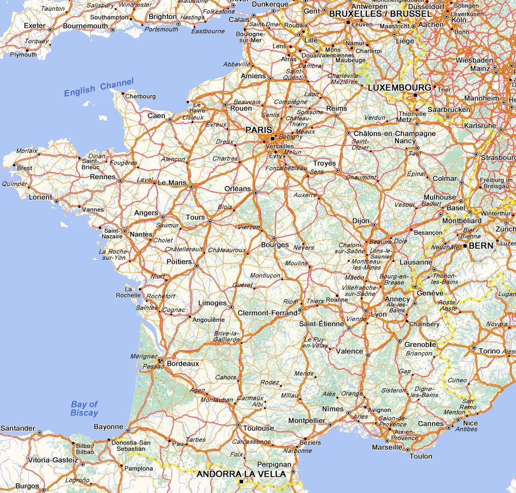 Carte Reseau Routier pour Carte Routiere France Gratuite