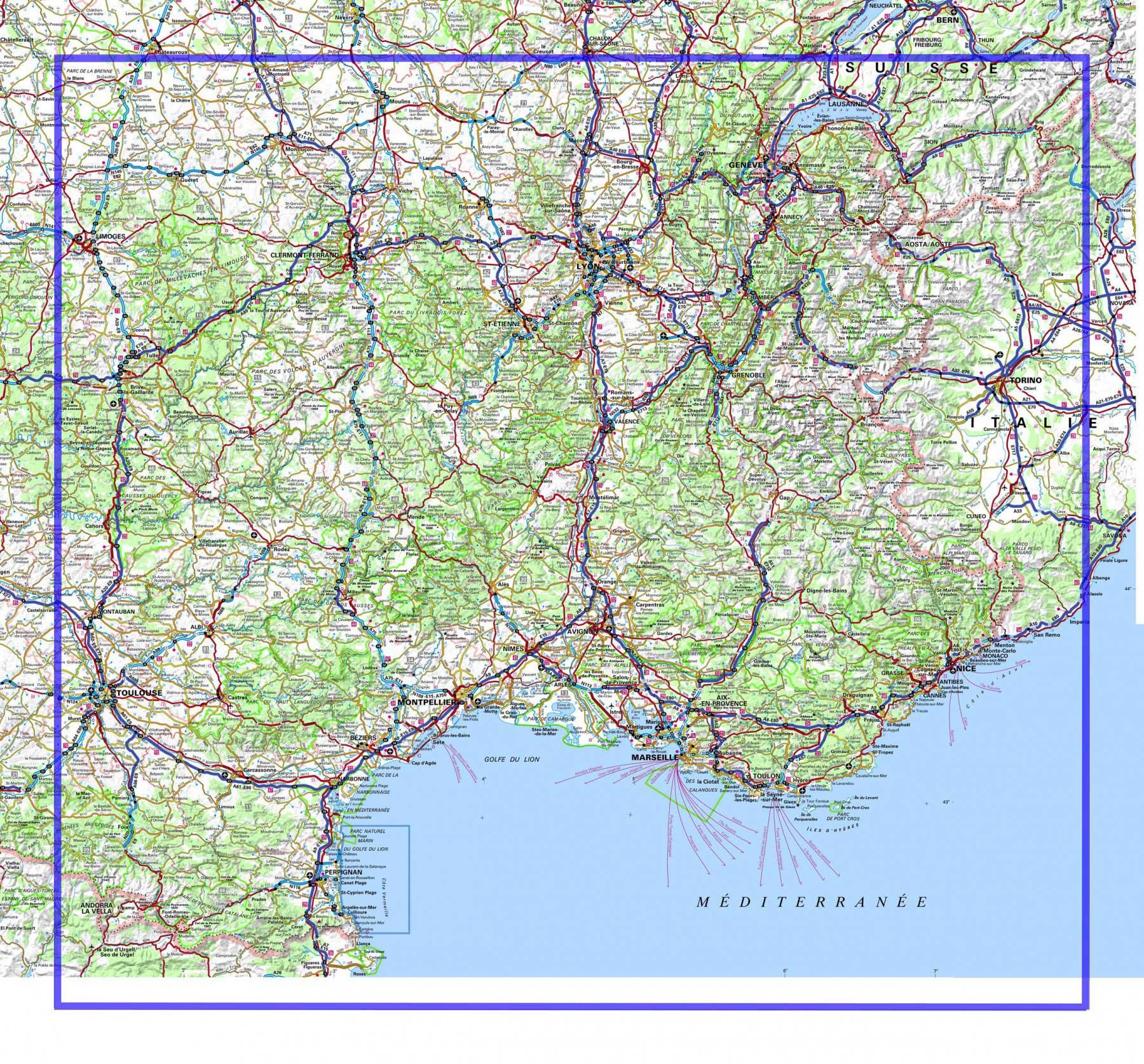 Carte Routière France Sud-Est » Vacances - Arts- Guides Voyages avec Carte Géographique De France
