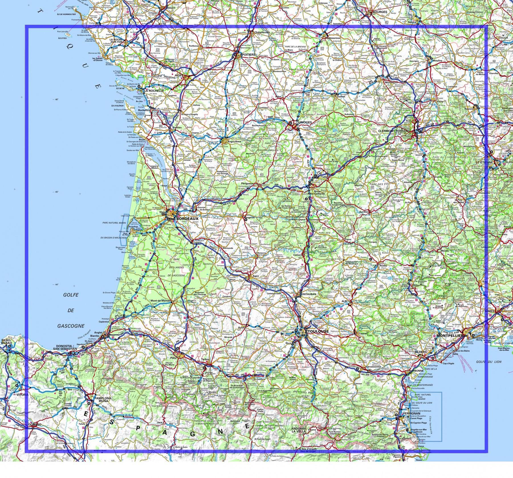 Carte Routière Sud Ouest » Vacances - Arts- Guides Voyages intérieur Carte Routiere France Gratuite