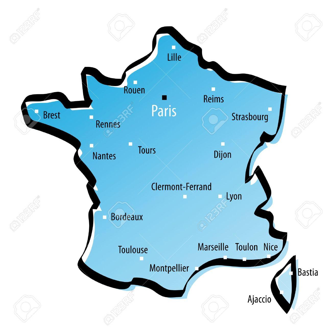Carte Stylisée De La France Avec Les Grandes Villes destiné Carte De France Avec Grandes Villes