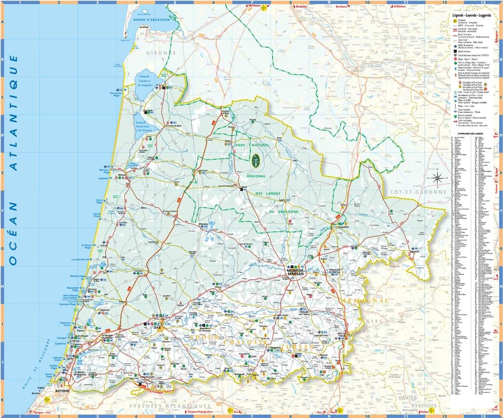 Carte Touristique Des Landes (40) Pour Vos Vacances pour Carte Du Sud De La France Détaillée