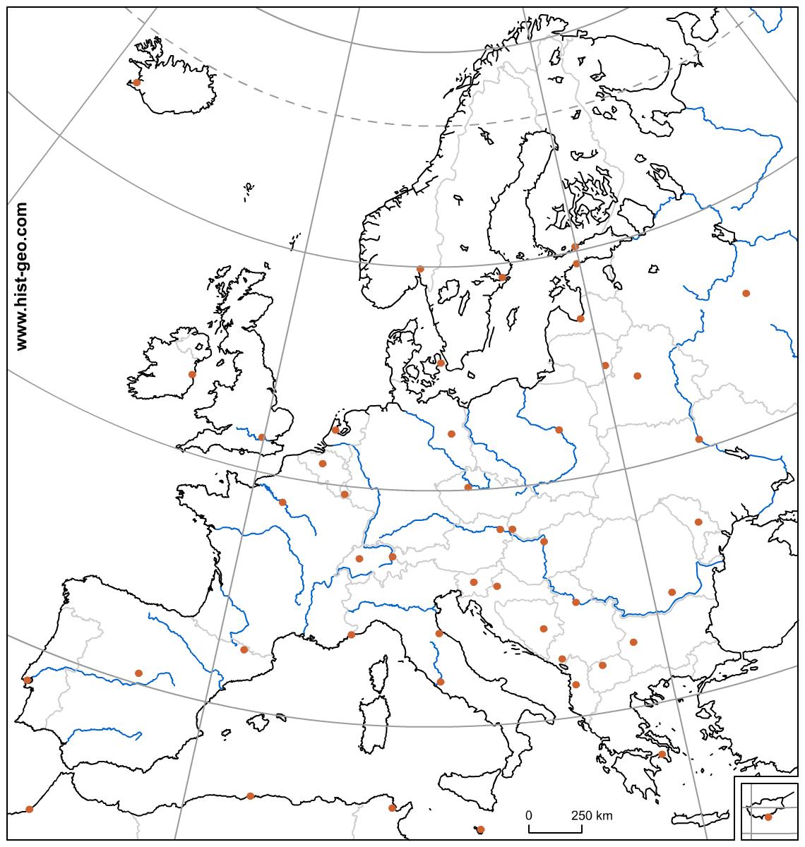 Carte Vierge De L'union Européenne (Pays, Capitales, Fleuves serapportantà Union Européenne Carte Vierge