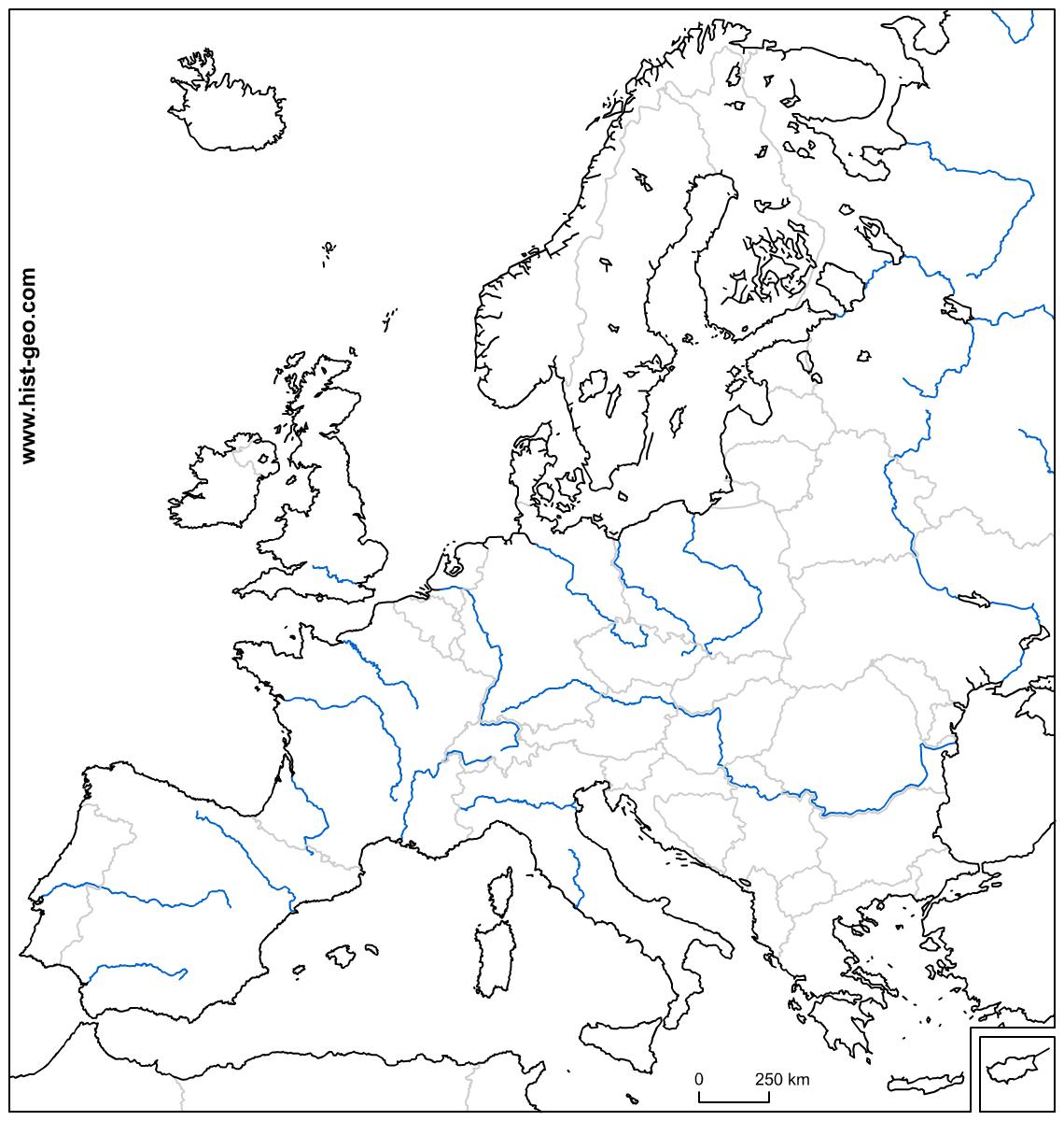 Carte Vierge Sur Les Pays Et Les Fleuves D'europe avec Carte Fleuve Europe Vierge