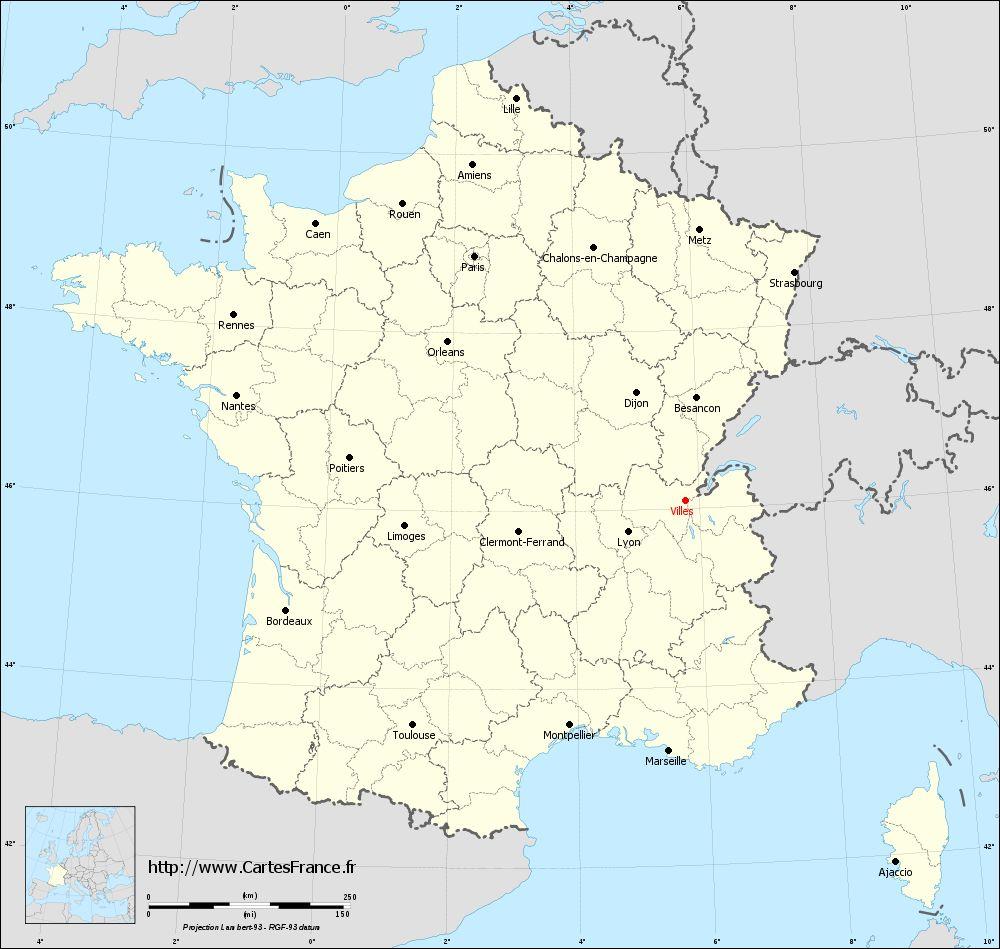Carte Villes : Cartes De Villes 01200 pour Carte De La France Avec Toutes Les Villes