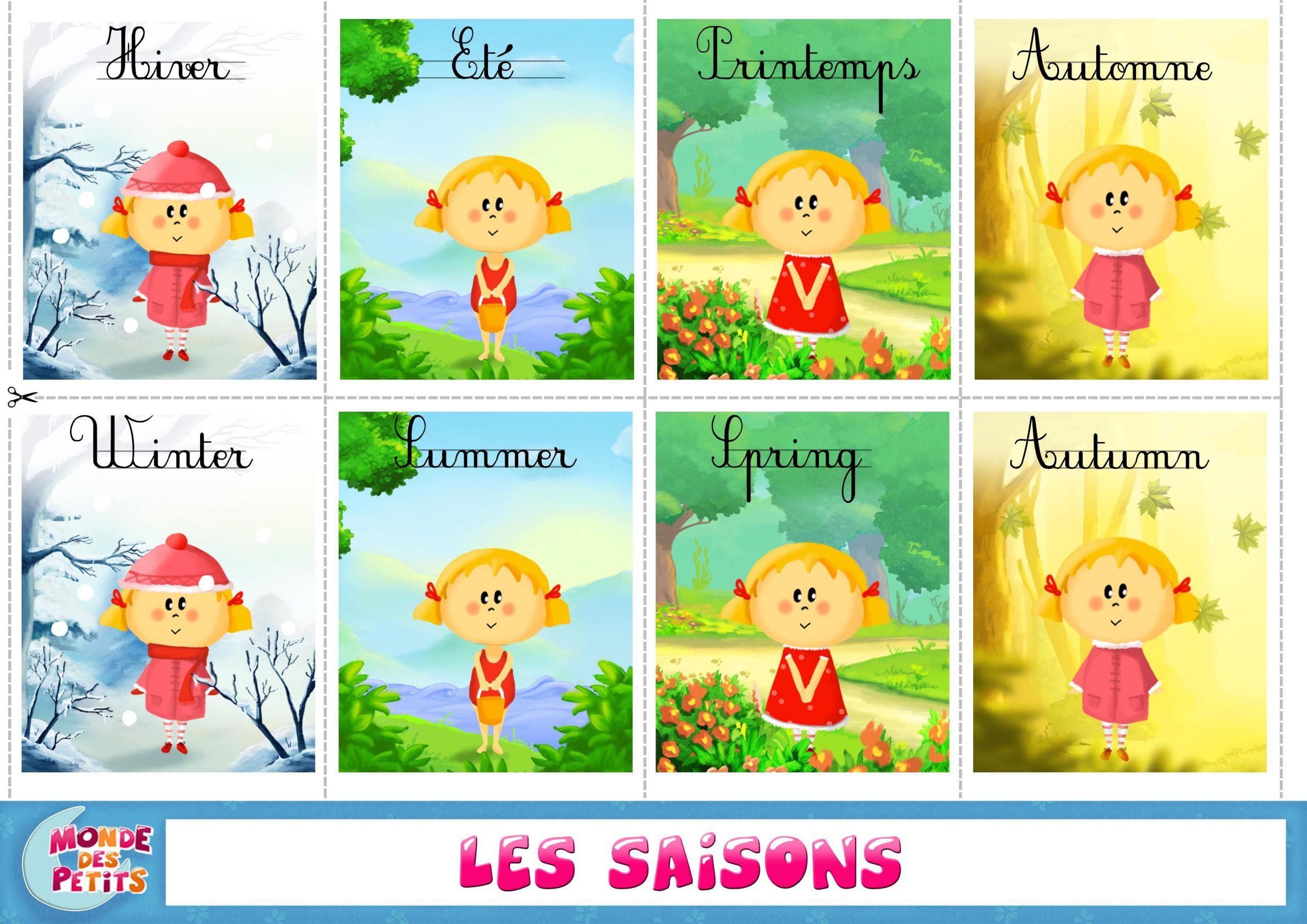 Cartes À Imprimer Les Saisons | Apprendre L'anglais intérieur Apprendre Les Saisons En Maternelle
