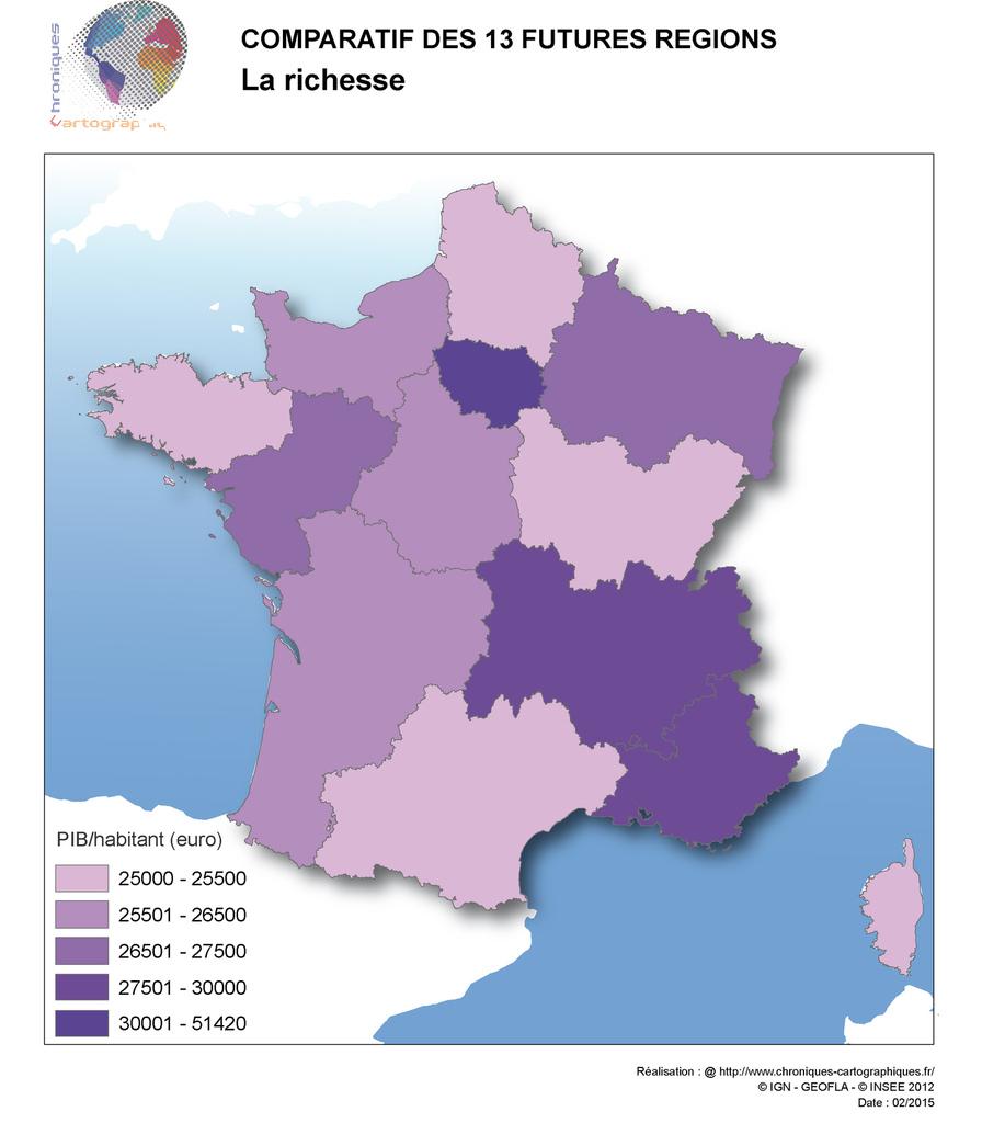 Cartes Comparatives Des Nouvelles Régions En France à La Carte De France Et Ses Régions
