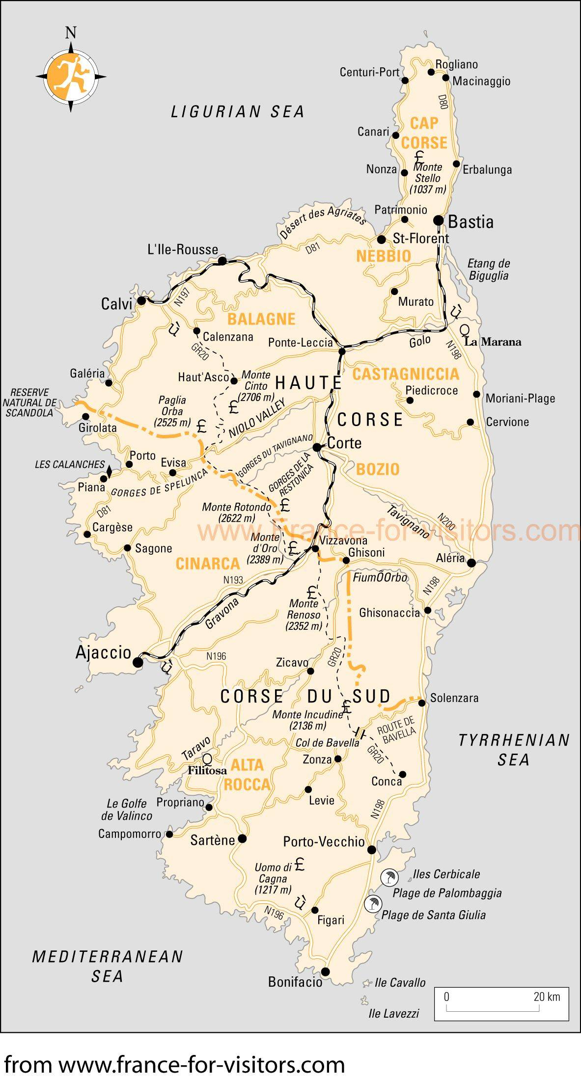 Cartes De Corse | Cartes Typographiques Détaillées De Corse tout Carte Du Sud Est De La France Détaillée