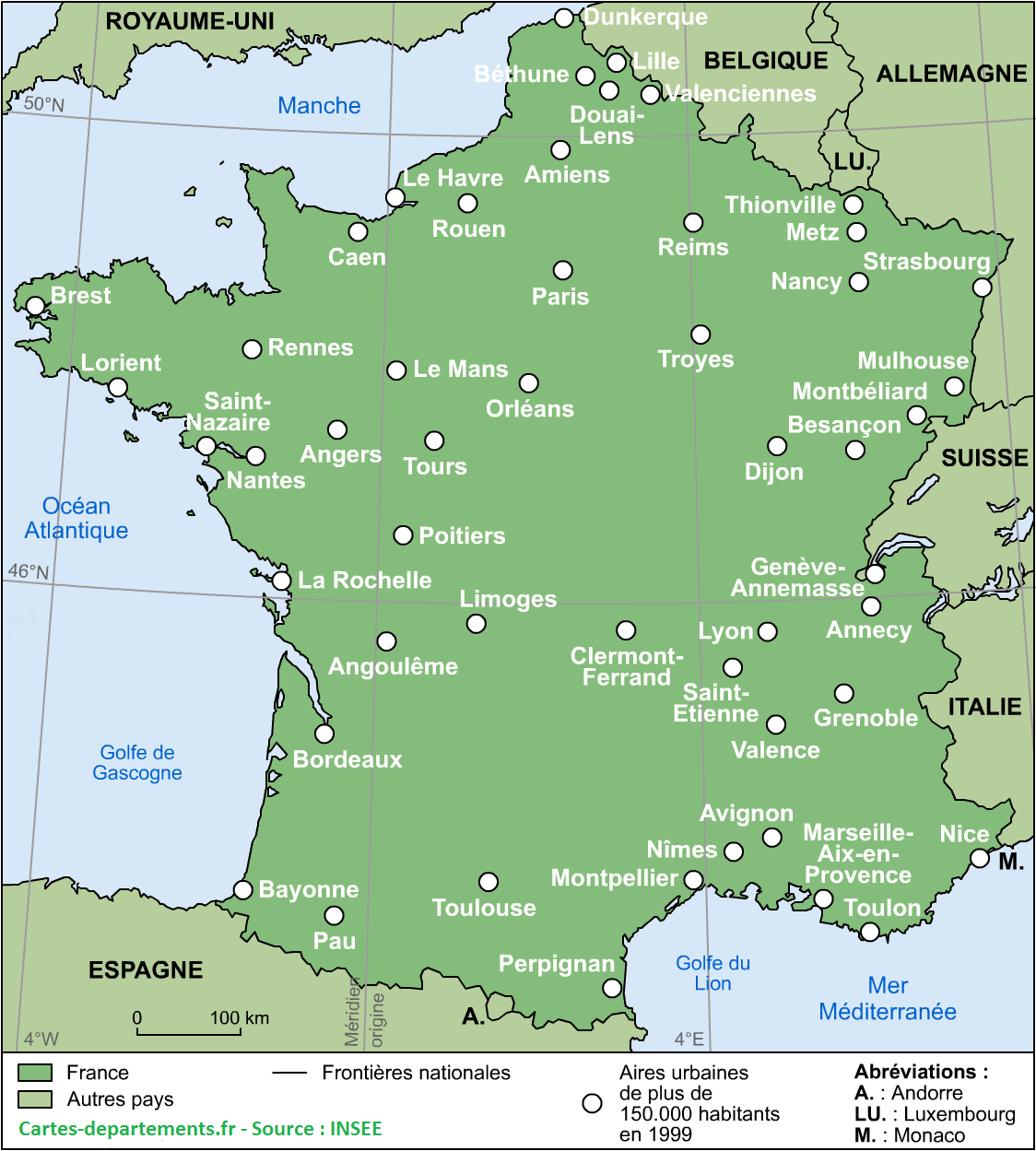 Cartes De France : Cartes Des Régions, Départements Et avec Carte Des Préfectures