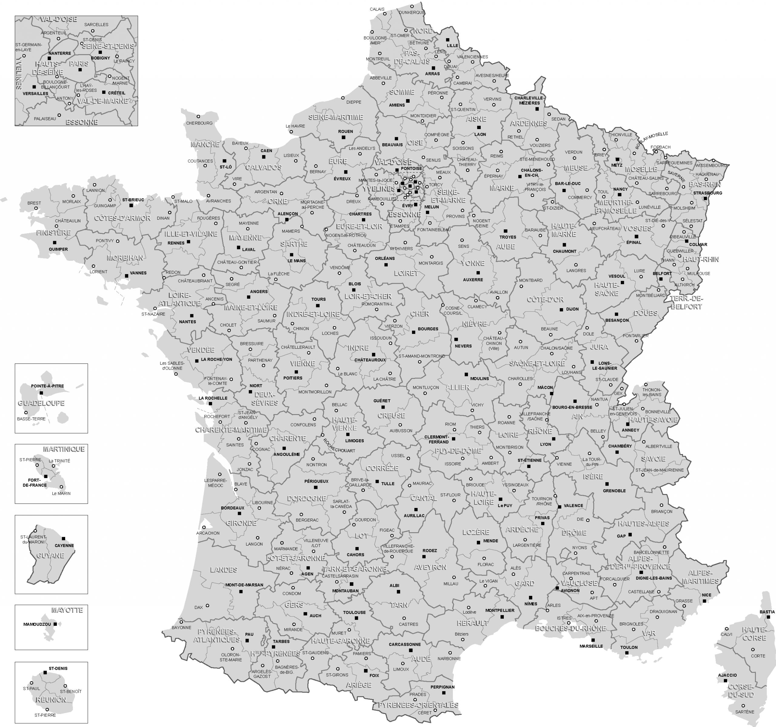 Cartes De France, Cartes Et Rmations Des Régions pour Carte France Département Vierge