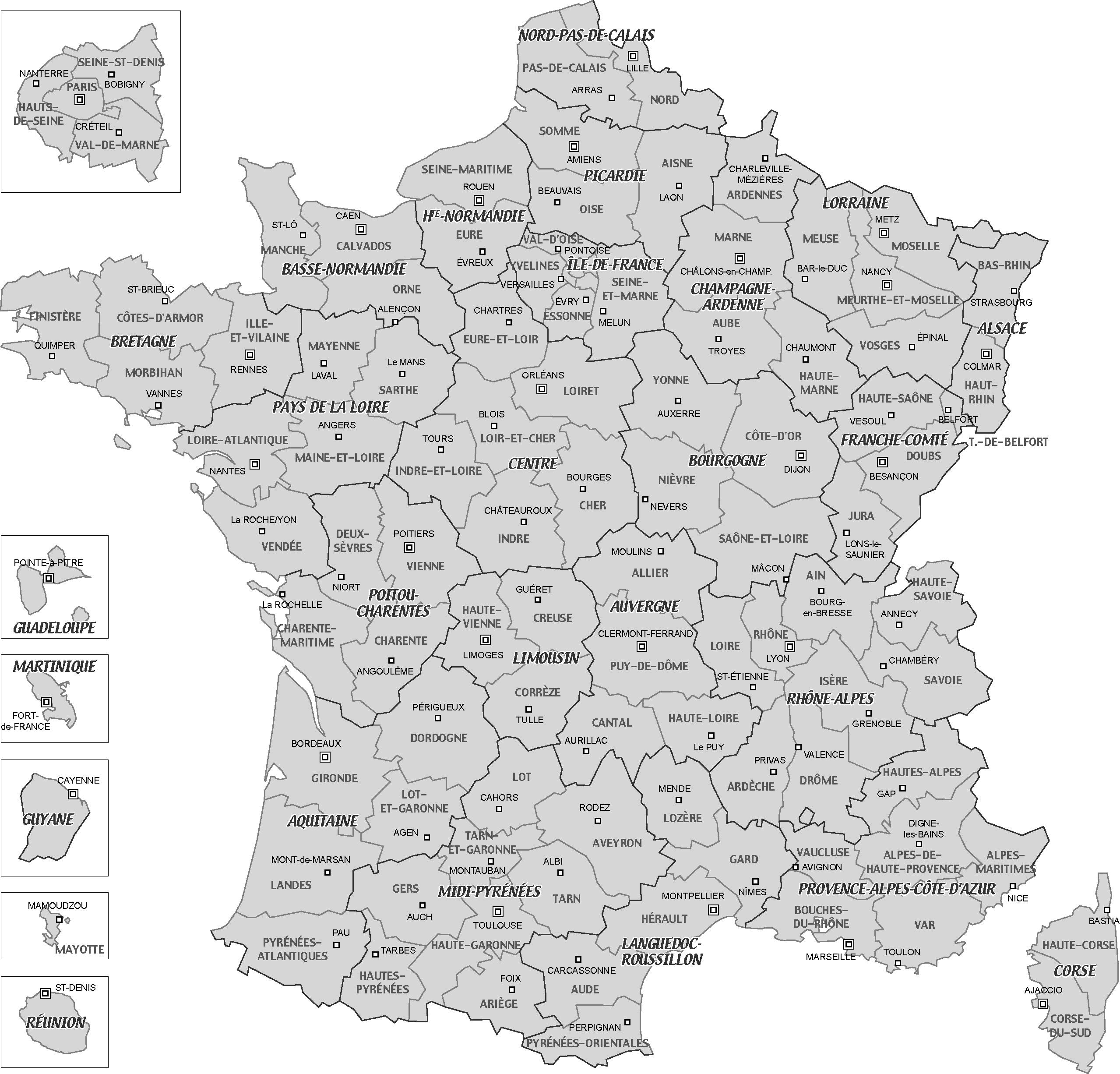 Cartes De France, Cartes Et Rmations Des Régions serapportantà Carte France Département Vierge