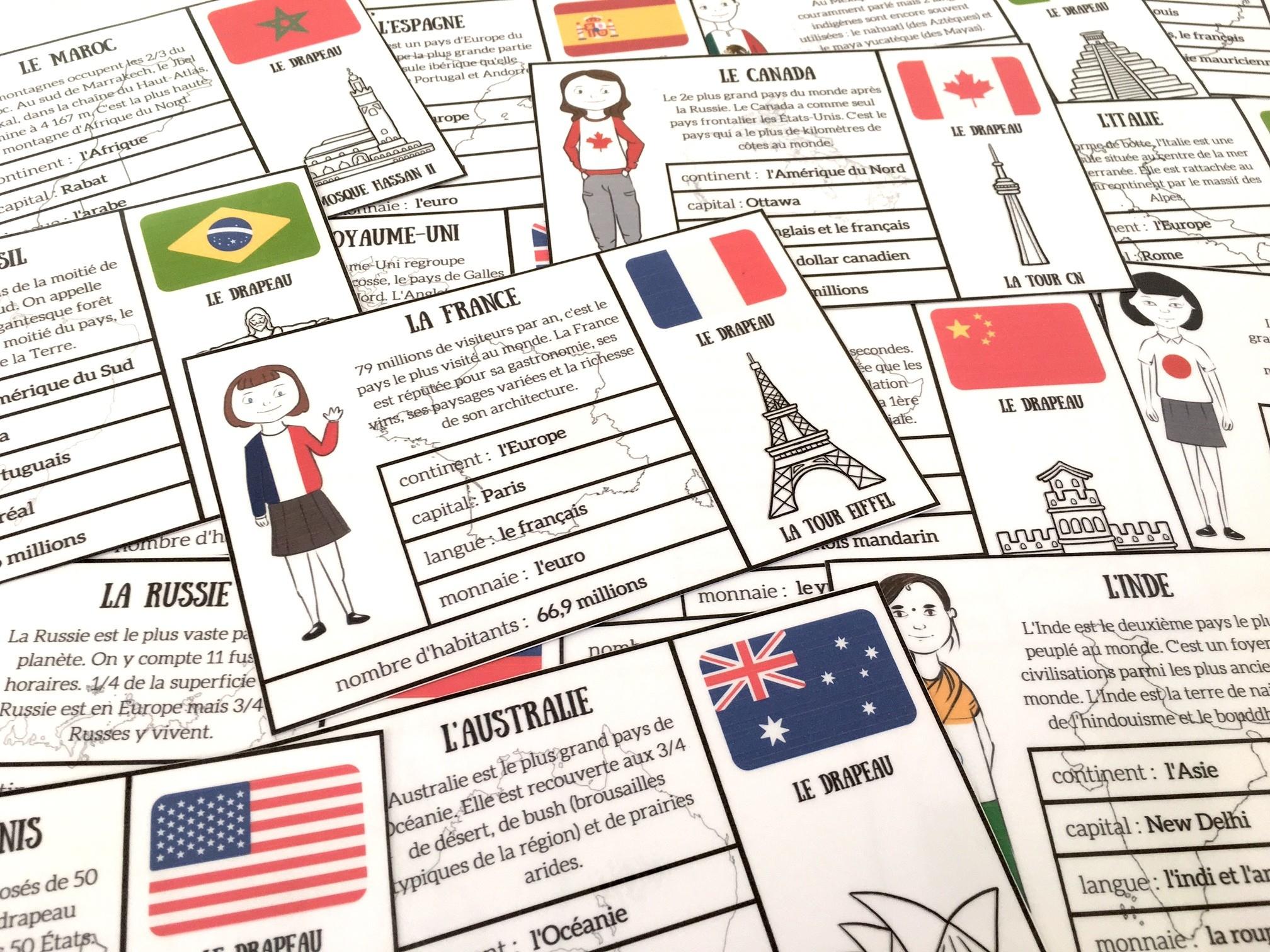 Cartes De Géographie Pour Découvrir Quelques Pays { À tout Jeux De Carte Geographique Du Monde