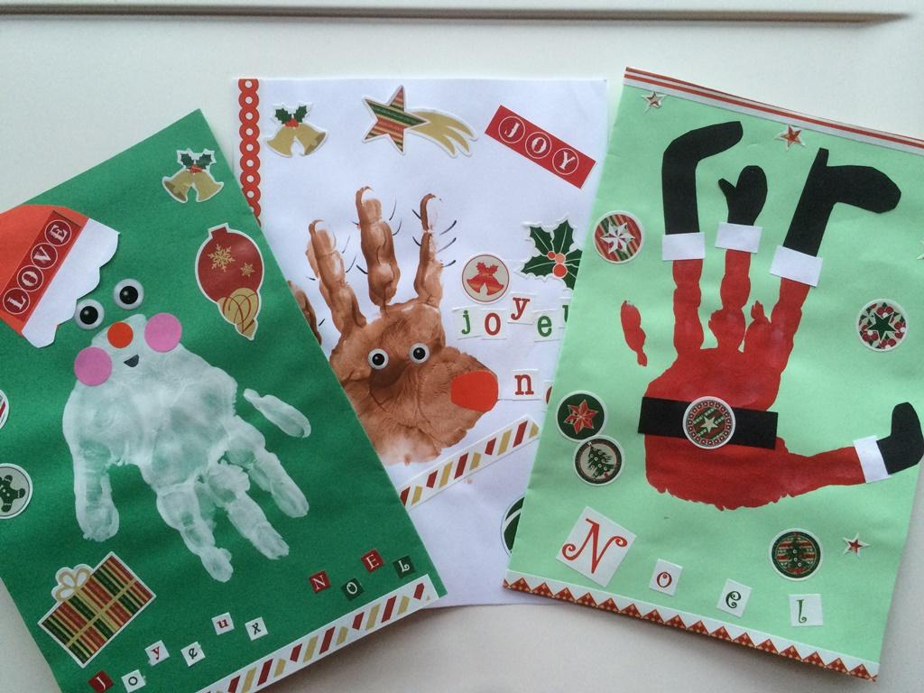 Cartes De Noël Avec Empreintes De Main - Les Pious De Chatou encequiconcerne Cartes De Noel Maternelle